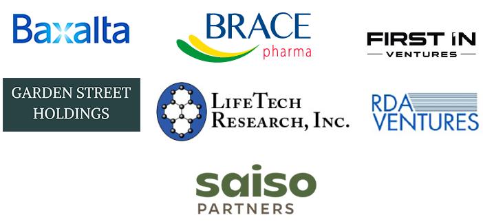 Investor logos: Baxalta, Brace Pharma, First In Ventures, Garden Street Holdings, LifeTech Research Inc, RDA Ventures, Saiso Partners
